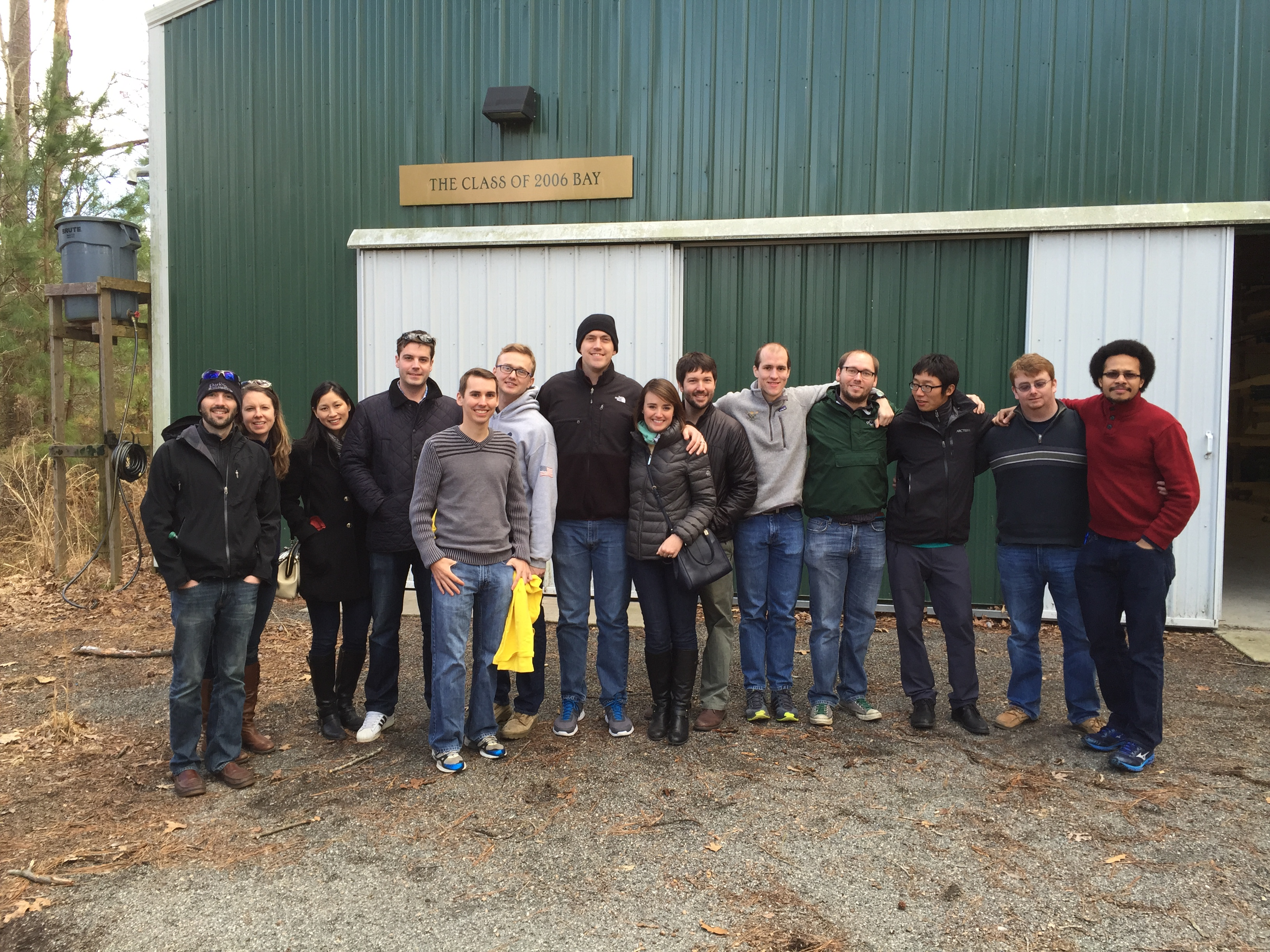 Alumni at the Tack Family Boathouse in Williamsburg, VA after the 2015 FWR Annual Meeting